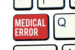 Handwriting text writing Medical Error. Concept meaning Preventable adverse effect of care under and over treatment.  royalty free stock image