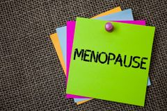 Handwriting text writing Menopause. Concept meaning Cessation of menstruation Older women hormonal changes period Sticky cards boa. Rd pinned muliple colours stock image