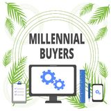 Handwriting text writing Millennial Buyers. Concept meaning Type of consumers that are interested in trending products. Handwriting text writing Millennial vector illustration