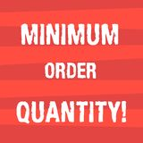 Handwriting text writing Minimum Order Quantity. Concept meaning lowest quantity of a product a supplier can sell. Halftone Stripe photo Horizontal Lines royalty free illustration