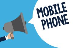 Handwriting text writing Mobile Phone. Concept meaning A handheld device used to send receive calls and messages Man holding megap. Hone loudspeaker speech Royalty Free Illustration