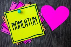 Handwriting text writing Momentum. Concept meaning Quantity motion in moving body Product of mass and velocity Border sticky remem. Ber cards love heart pinned stock images