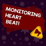 Handwriting text writing Monitoring Heart Beat. Concept meaning Measure or record the heart rate in real time Megaphone Inside. Triangle and Blank Color stock illustration