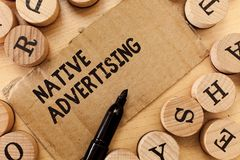 Handwriting text writing Native Advertising. Concept meaning Online Paid Ads Match the Form Function of Webpage.  stock photos