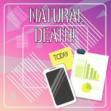 Handwriting text writing Natural Death. Concept meaning occurring in the course of nature and from natural causes Layout. Handwriting text writing Natural Death stock illustration