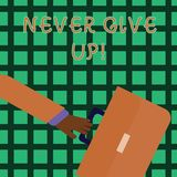 Handwriting text writing Never Give Up. Concept meaning Be persistent motivate yourself succeed never look back Rushing. Handwriting text writing Never Give Up royalty free illustration