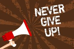 Handwriting text writing Never Give Up. Concept meaning Keep trying until you succeed follow your dreams goals Man holding megapho. Ne loudspeaker grunge brown royalty free illustration