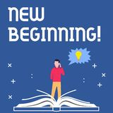 Handwriting text writing New Beginning. Concept meaning Fresh Start Changing Form Growth Life New Way to Work. Handwriting text writing New Beginning. Concept vector illustration