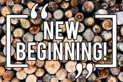 Handwriting text writing New Beginning. Concept meaning Fresh Start Changing Form Growth Life New Way to Work Wooden background. Vintage wood wild message ideas stock illustration