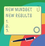 Handwriting text writing New Mindset New Results. Concept meaning Open to Opportunities No Limits Think Bigger Blank. Square Color Board with Magnet Click stock illustration