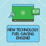 Handwriting text writing New Technology Fuel Saving Engine. Concept meaning Modern technologies for automobiles Tablet stock illustration