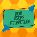 Handwriting text writing New Users Attraction. Concept meaning Something that makes showing want for a particular thing. Two Megaphone with Sound icon on Blank stock illustration