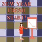 Handwriting text writing New Year Fresh Start. Concept meaning Time to follow resolutions reach out dream job. Handwriting text writing New Year Fresh Start stock illustration