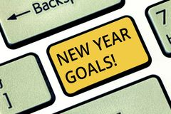 Handwriting text writing New Year Goals. Concept meaning Resolutions for 365 days coming soon Motivation to change. Keyboard key Intention to create computer royalty free stock images