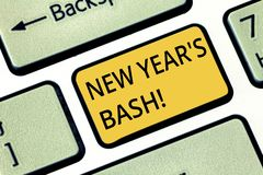 Handwriting text writing New Year S Bash. Concept meaning Celebration of the 365 days coming Happy party time Keyboard key. Intention to create computer message stock photography