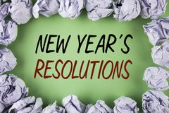 Handwriting text writing New Year\'S Resolutions. Concept meaning Goals Objectives Targets Decisions for next 365 days written on. Handwriting text writing New Royalty Free Stock Photos