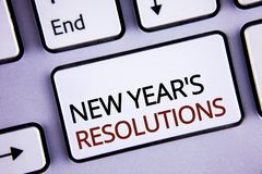Handwriting text writing New Year'S Resolutions. Concept meaning Goals Objectives Targets Decisions for next 365 days written on. Handwriting text writing New Royalty Free Stock Photo