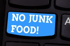 Handwriting text writing No Junk Food. Concept meaning Stop eating unhealthy things go on a diet give up burgers fries. Keyboard key Intention to create stock photo