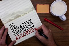 Handwriting text writing No Negative Thoughts Allowed. Concept meaning Always positive motivated inspired good vibes. Sticky note red pen coffee with coffee mug royalty free stock photography