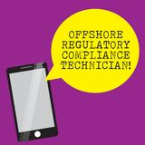 Handwriting text writing Offshore Regulatory Compliance Technician. Concept meaning Oil and gas industry engineering Smartphone. Mobile Glass Screen Reflecting royalty free stock photos