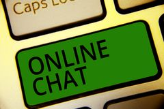 Handwriting text writing Online Chat. Concept meaning talking with friend or someone through internet and PC phone Keyboard green. Key Intention create computer royalty free illustration