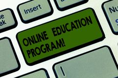 Handwriting text writing Online Education Program. Concept meaning Distance learning that relies on the Internet Keyboard key. Intention to create computer stock photography