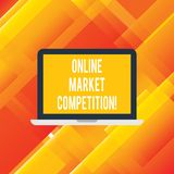 Handwriting text writing Online Market Competition. Concept meaning Rivalry between companies selling same product. Laptop Monitor Personal Computer Device royalty free illustration