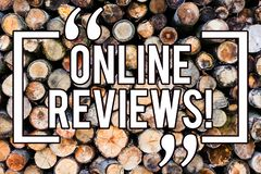 Handwriting text writing Online Reviews. Concept meaning Internet Evaluations Customer Rating Opinions Satisfaction Wooden. Background vintage wood wild message royalty free stock photography