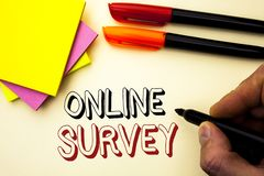 Handwriting text writing Online Survey. Concept meaning Digital Media Poll Customer Feedback Opinions Questionnaire written by Mar. Ker the plain background Pen Royalty Free Stock Images