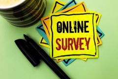 Handwriting text writing Online Survey. Concept meaning Digital Media Poll Customer Feedback Opinions Questionnaire written on Sti. Handwriting text writing Royalty Free Stock Photography