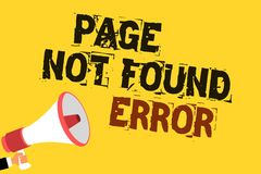 Handwriting text writing Page Not Found Error. Concept meaning message appears when search for website doesnt exist Multiline text. Notice board recall reassure Stock Photos