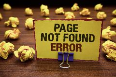 Handwriting text writing Page Not Found Error. Concept meaning message appears when search for website doesnt exist Yellow sticky. Card clipped text notice royalty free stock photography