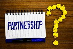 Handwriting text writing Partnership. Concept meaning Association of two or more people as partners Cooperation Unity Study notebo royalty free stock image