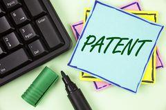 Handwriting text writing Patent. Concept meaning License that gives rights for using selling making a product written on Sticky No. Handwriting text writing stock images