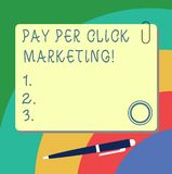 Handwriting text writing Pay Per Click Marketing. Concept meaning Digital modern advertising strategies Promotion Blank. Square Color Board with Magnet Click stock illustration