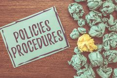 Handwriting text writing Policies Procedures. Concept meaning Influence Major Decisions and Actions Rules Guidelines.  royalty free stock image