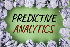 Handwriting text writing Predictive Analytics. Concept meaning Method to forecast Performance Statistical Analysis written on plai. Handwriting text writing Stock Photography