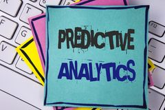 Handwriting text writing Predictive Analytics. Concept meaning Method to forecast Performance Statistical Analysis written on Stic. Handwriting text writing Stock Photo
