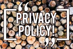 Handwriting text writing Privacy Policy. Concept meaning Document Information Security Confidential Data Protection Wooden. Background vintage wood wild message stock photos
