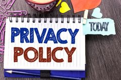 Handwriting text writing Privacy Policy. Concept meaning Document Information Security Confidential Data Protection written on Not Royalty Free Stock Photography