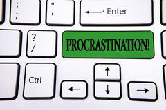 Handwriting text writing Procrastination Motivational Call. Concept meaning Delay or Postpone something boring written on Green Ke. Handwriting text writing Royalty Free Stock Photo