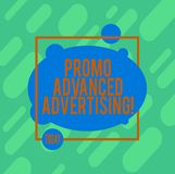 Handwriting text writing Promo Advanced Advertising. Concept meaning inform target audiences the merits of a product. Asymmetrical Blank Oval photo Abstract royalty free illustration