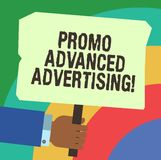 Handwriting text writing Promo Advanced Advertising. Concept meaning inform target audiences the merits of a product Hu. Analysis Hand Holding Blank Colored royalty free illustration