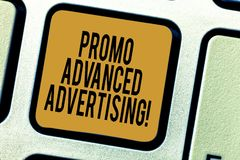Handwriting text writing Promo Advanced Advertising. Concept meaning inform target audiences the merits of a product. Keyboard key Intention to create computer stock illustration