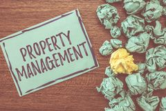 Handwriting text writing Property Management. Concept meaning Overseeing of Real Estate Preserved value of Facility.  royalty free stock image