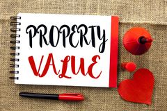 Handwriting text writing Property Value. Concept meaning Estimate of Worth Real Estate Residential Valuation written on Notebook B. Handwriting text writing stock photography