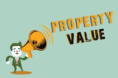 Handwriting text writing Property Value. Concept meaning Worth of a land Real estate appraisal Fair market price.  vector illustration