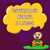 Handwriting text writing Psychology Mental Illness. Concept meaning Psychiatric disorder Mental health condition Baby Sitting on. Rug with Pacifier Book and stock illustration