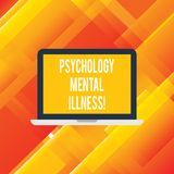 Handwriting text writing Psychology Mental Illness. Concept meaning Psychiatric disorder Mental health condition Laptop. Monitor Personal Computer Device Tablet stock illustration