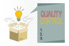 Handwriting text writing Quality Control. Concept meaning insure that product or service sold due to standards.  vector illustration